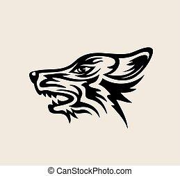 logotipo, lobo, rosto