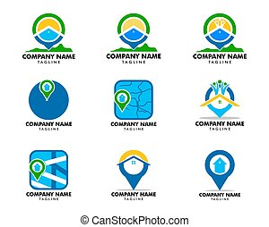 logotipo, locator, casa, vettore, sagoma, set
