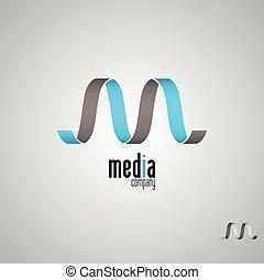 logotipo, logotipo, m, template.