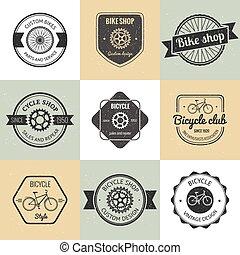 logotipo, loja bicicleta, jogo