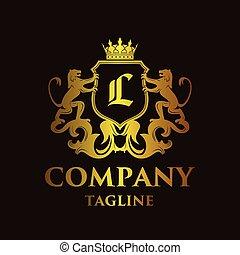 logotipo, lujo, carta, 'l'
