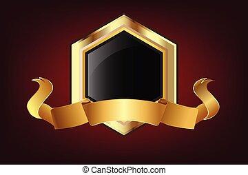 logotipo, luminoso, nastro, scudo, oro