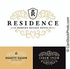 logotipo, luxuoso, vetorial, real