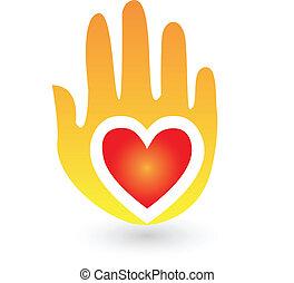 logotipo, mão, amor