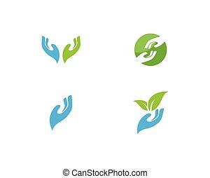 logotipo, mão, cuidado