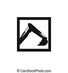 logotipo, mão, escavador, modelo, ícone