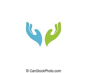 logotipo, mão, modelo, cuidado