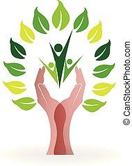 logotipo, mãos, árvore, ícone, pessoas