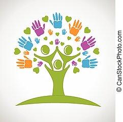 logotipo, mãos, árvore, corações, pessoas