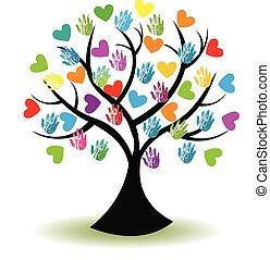 logotipo, mãos, árvore, corações