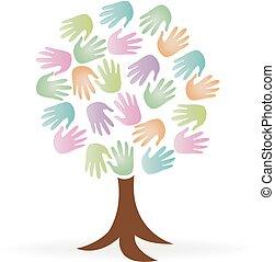 logotipo, mãos, árvore, pessoas