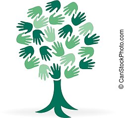 logotipo, mãos, árvore, verde, pessoas