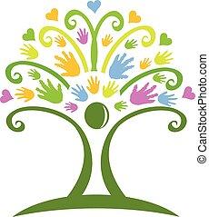 logotipo, mãos, árvore