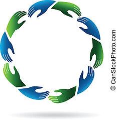 logotipo, mãos alcançando