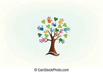 logotipo, mãos, amor, árvore, corações