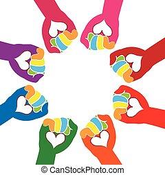 logotipo, mãos, amor, trabalho equipe
