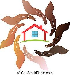 logotipo, mãos, ao redor, casa
