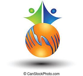 logotipo, mãos, ao redor, mundo, pessoas