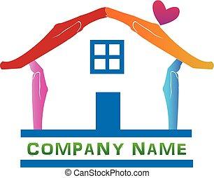 logotipo, mãos, casa
