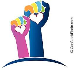 logotipo, mãos
