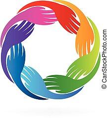 logotipo, mãos, coloridos, equipe