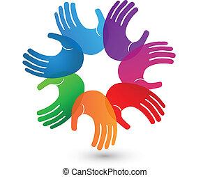 logotipo, mãos, coloridos, trabalho equipe