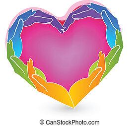 logotipo, mãos, coração, solidariedade