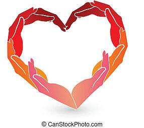 logotipo, mãos, coração vermelho