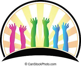 logotipo, mãos, crianças, feliz