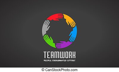 logotipo, mãos, desenho, negócio, trabalho equipe