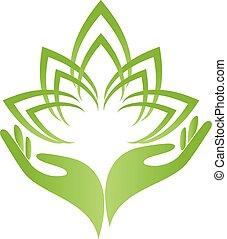 logotipo, mãos, folhas