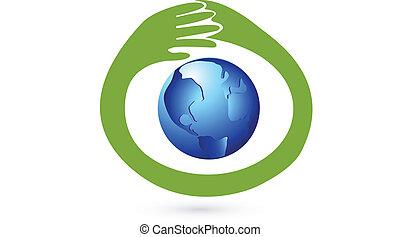 logotipo, mãos, negócio, protegendo