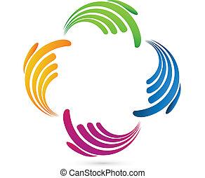 logotipo, mãos, rede, negócio, social
