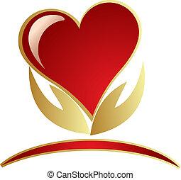 logotipo, mãos, segurando, coração