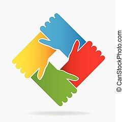 logotipo, mãos, trabalho equipe