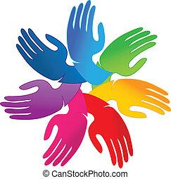 logotipo, mãos, trabalho equipe, pessoas