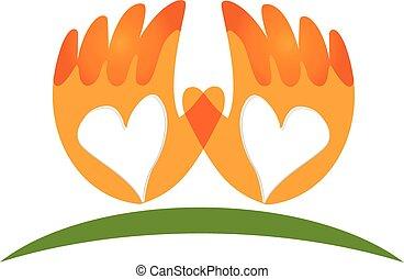 logotipo, mãos, vetorial, amor, ícone