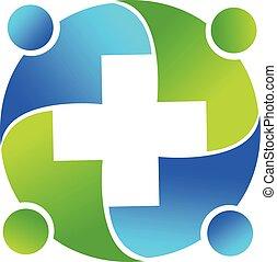 logotipo, médico, trabalho equipe, pessoas