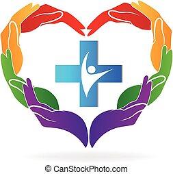 logotipo, médico, vetorial, trabalho equipe, mãos