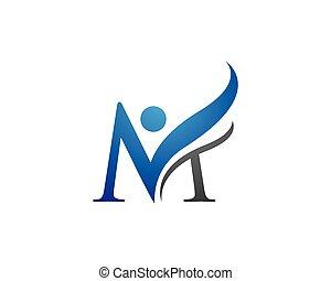 logotipo, m, carta, plantilla