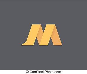 logotipo, m, lettera