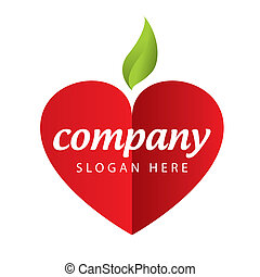 logotipo, maçã, vermelho