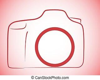 logotipo, macchina fotografica, slr
