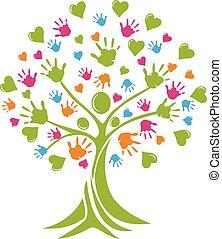 logotipo, mani, albero, cuori, persone