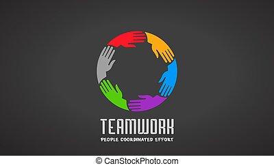 logotipo, mani, disegno, affari, lavoro squadra