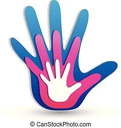 logotipo, mani, famiglia, icona