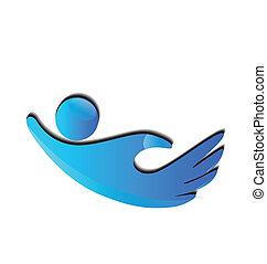 logotipo, mani, figure, solidarietà, icona
