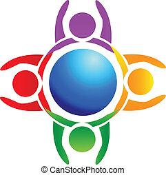 logotipo, mani in alto, intorno, mondo