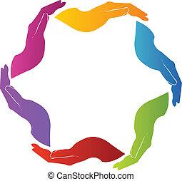 logotipo, mani, lavoro squadra, solidarietà