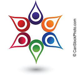 logotipo, mani, lavoro squadra, su, icona